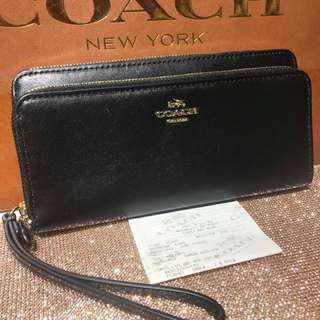 CLEARANCE SALE BNWT AUTHENTIC COACH DOUBLE  ACCORDION ZIP WALLET IN SMOOTH LEATHER (COACH F53680)  GOLD/BLACK