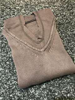 Top Atasan Sweater Rajut Coklat Tua Hoodie