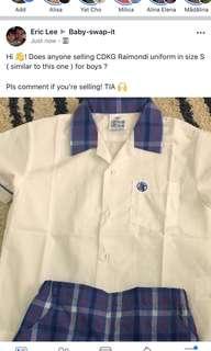 Does anyone selling CDKG Raimondi Uniform in size S ?