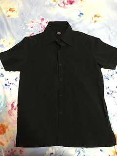 Collar black short sleeve shirt