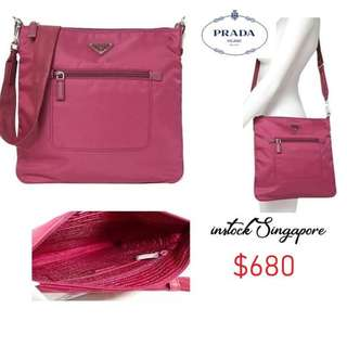 cc7db1599493 READY STOCK authentic new Prada BT0715 Ibisco dark pink Tessuto Messenger  Bag nylon pink