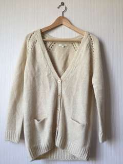 SPAO NUDE KNITTED CARDIGAN