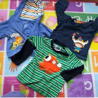 Sweater bundle for baby boy: Mothercare striped longsleeved 18m + Mothercare pullover 6-9m +  Gymboree hoodie 3-6m