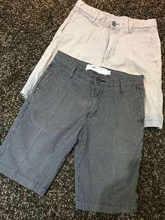 Celana Shorts Bermuda Kotak kotak & Biru muda, Set 2