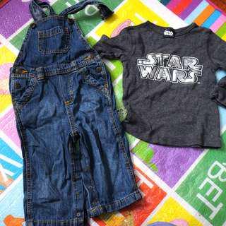 Bundle: Old Navy denim jumper, 18m + Star Wars shirt 2 years