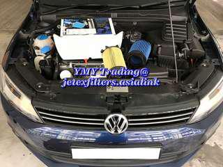 #jetexfilters_vw. #jetexfiltersasialink.Jetta Mk6 1.4tsi Single Turbo on site replacement of Jetex high flow performance drop in air filter with 1.14 kpa flow rate washable Filter..
