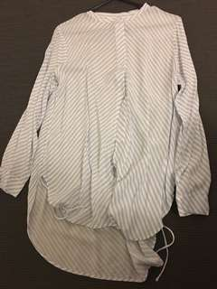 Striped sheer long sleeve button up shirt