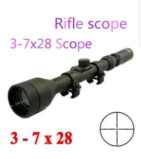 3-7×28 telescope with mounts caps lens for airsoft Nerf wars