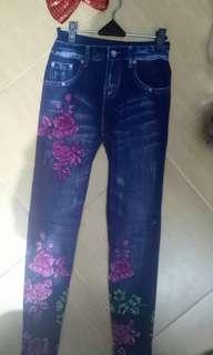 Leging motif jeans