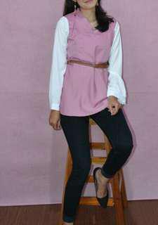 Blouse white pink