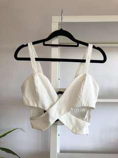 BRAND NEW Wrap Front White Crop Top