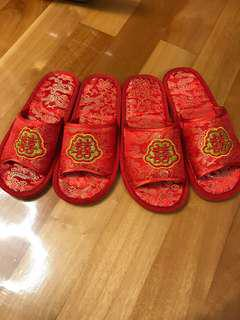 2 x「囍」字拖鞋 red slippers