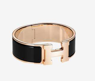 abd275bcb8435 BNIB Authentic Hermes Clic Clac H Bracelet in Black and Rose Gold Hardware