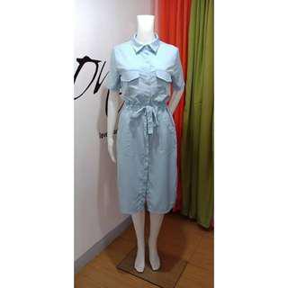 Blue buttondown midi dress