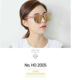 【兩件500免運】正韓 韓國時尚粉色鏡面墨鏡
