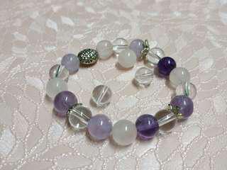 紫晶*粉晶*白晶鏈 /真天然水晶