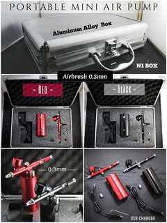 -N1 Box - (全新鋁合金箱便攜輕便式充電氣泵噴筆,噴槍套裝) 模型上色-高清化妝-美甲上色-Portable mini air pump Airbrush Aluminum Alloy  Box