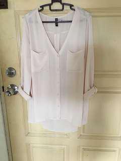 Hm white chiffon blouse
