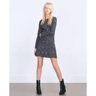 Zara black printed dress