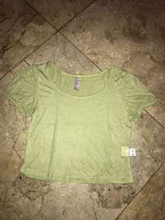 Korean imp Basic Yellow Green Tee