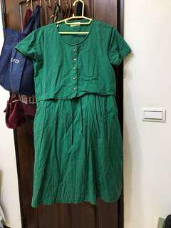 🚚 森林系洋裝 草綠色