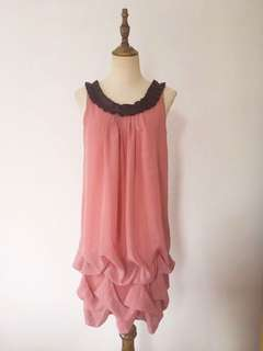 Red bean color draped balloon dress