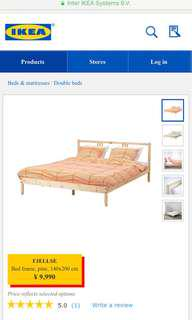 Double bed with mattress 雙人床,床架,床褥
