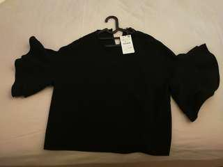 Zara baggy blouse/ top frilly and wide sleeves black
