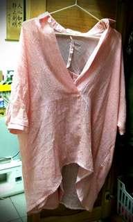 紅白 細條紋 大V深V襯衫  韓國進口 後開衩#九月女裝半價