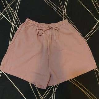 🚚 短褲 藕色抽繩短褲 休閒短褲 有口袋 short pant