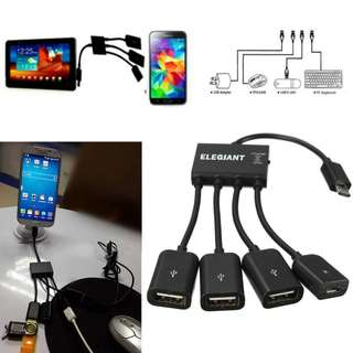 1435. 4-in-1 Micro USB Hub 3 Port OTG Charger OTG Adapter Connector High Speed USB and Charging Cable For Samsung Galaxy S6, Samsung Galaxy Note, Samsung Galaxy Tab3 8.0, Sony Xperia NX-02D, Sony Xperia, Sony S-series Tablet and more