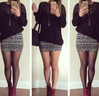 Aztec black and white tight skirt