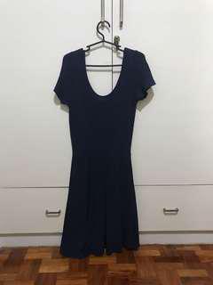 Folded & Hung Navy Blue U-Scoop Back Dress