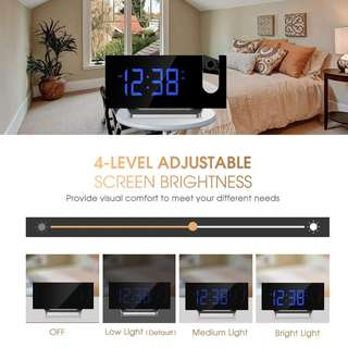1437. Projection Clock, FM Radio Alarm Clock, Curved-Screen Digital Alarm Clock, 5'' LED Display with Dimmer, Dual Alarm with USB Charging Port, 12/24 Hours, Backup Battery for Clock Setting