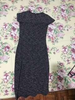 Cotton On Grey Ribbed Bodycon Maxi/ Midi Dress