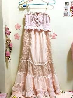 Liz Lisa粉紅色雪紡lace吊帶長裙
