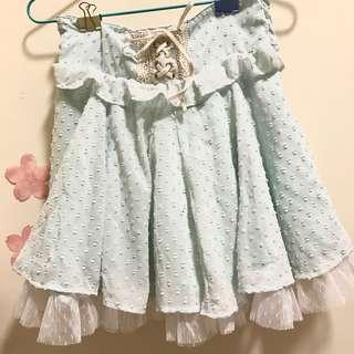 Liz lisa粉綠色雙層雪紡紗裙