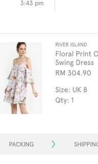 River island cold shoulder floral strive beach dress