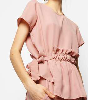 Cottonink Top - Pink Filia | Layered Side Gathered Top
