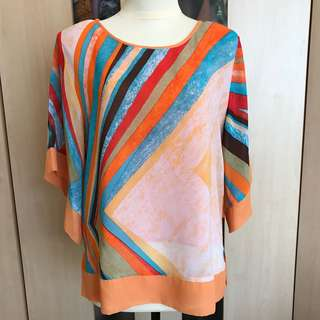 Orange Abstract Blouse