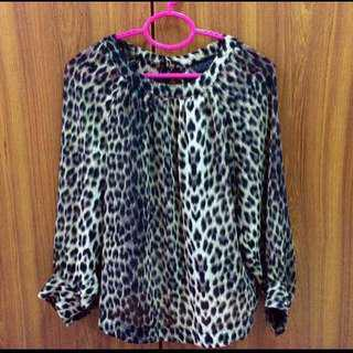 Topshop Leopard Blouse Top