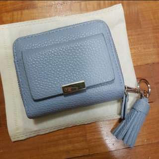 (INSTOCKS) BNIB Korean Ulzzang Mini Faux Leather Greyish-Blue Tassel Wallet
