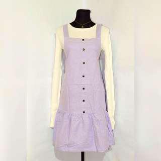 Korean Denim Dress - Lilac