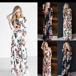 Printed floral long dress longsleeve