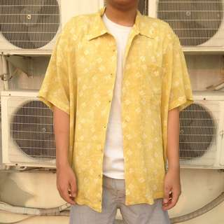 oversized yellow floral shirt