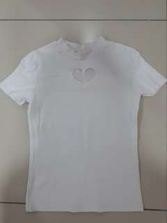 Cute white heart cutout top