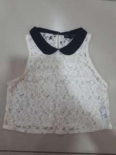 Lace crop top peterpan collar topshop