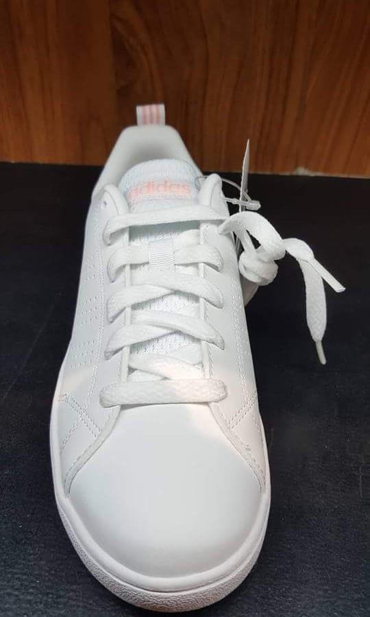 Women's Adidas Cloudfoam Advantage White And Pink Stripes