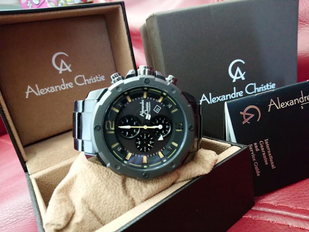 Man Watch Alexandra Christie Black Mens Alexandre Ac 6410 Strap Men Original Mc Steel Branded Stainless Chronograph Fashion Watches On Carousell