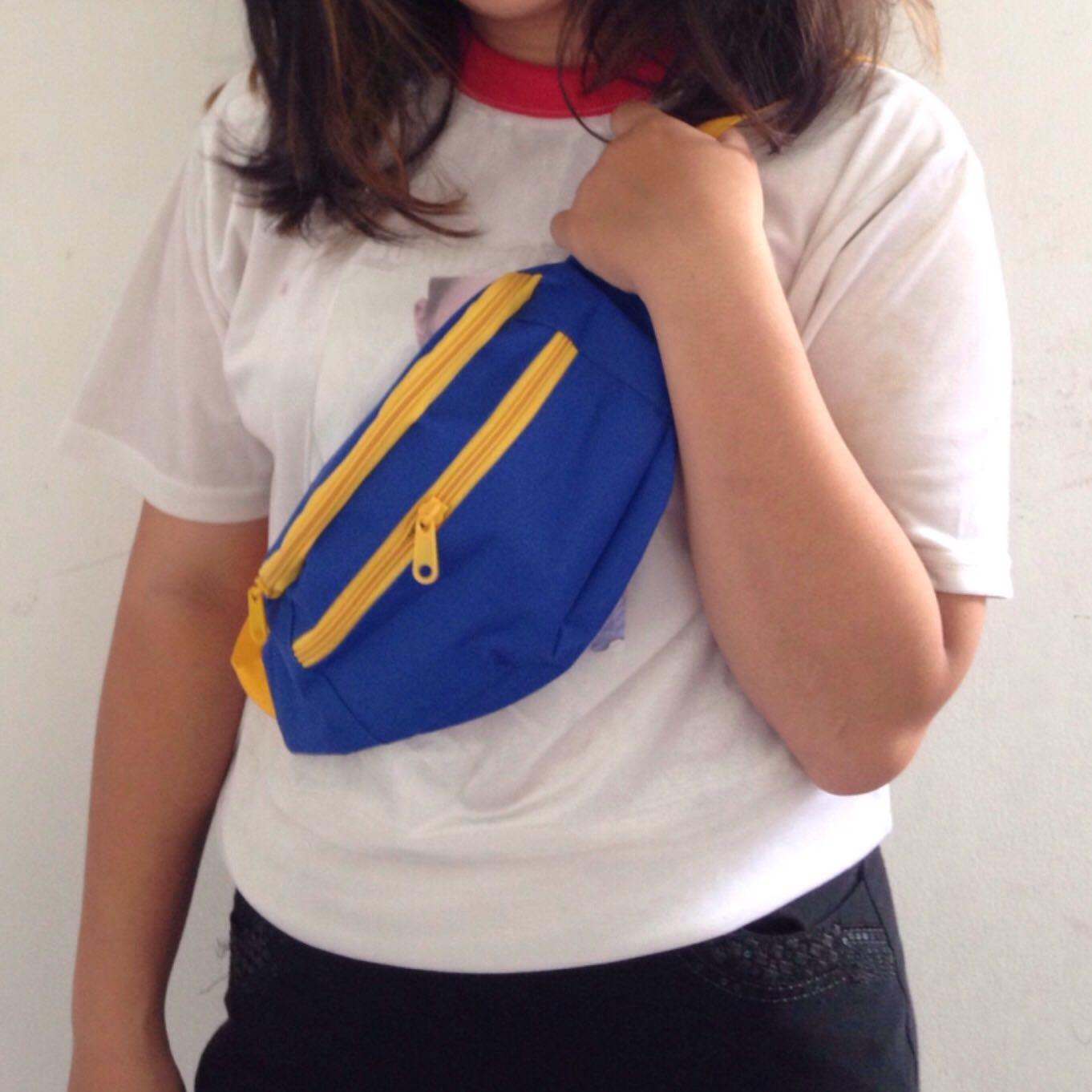 Blue-yellow plummie waistbag // fannypack